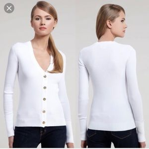 Tory Burch White Ribbed Cardigan Size L
